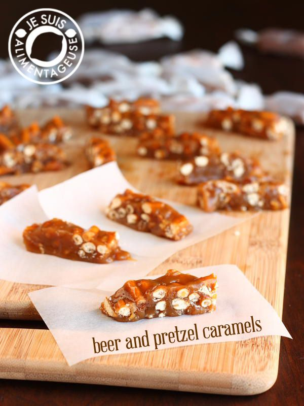 Beer and Pretzel Caramels - A sweet and salty snack that is super addictive! Showcasing pale ale from Granville Island Brewing   alimentageuse.com