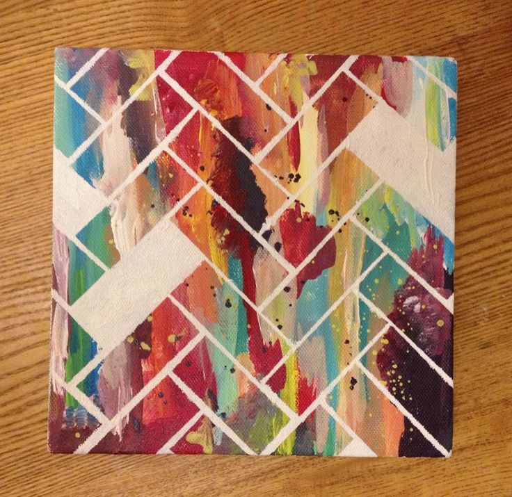 Make a herringbone pattern with masking tape. Community Post: 22 Incredibly  Easy DIY Ideas For Creating Your Own Abstract Art