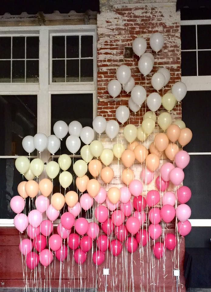A fun ombre balloon backdrop created by Up Balloon Boutique for fundraiser at a Walla Walla theater company.