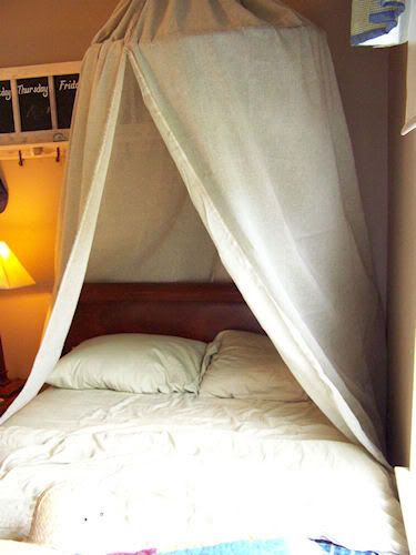 I'm going to use one of my hoops and some random chunks of fabric to do this over my bed. It will be like sleeping in a blanket fort every night!