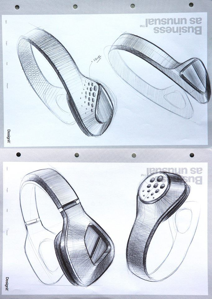 Headphones industrial design sketches