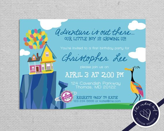 Paradise Falls Printable Birthday Party Invitation Inspired By The Disney Pixar Movie Up