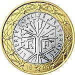 1 € FR  L'albero della vita racchiuso in un esagono, con intorno il motto Liberté, Égalité, Fraternité