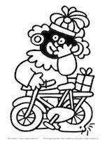 Zwarte Piet ging uit fietsen, toen klapte zijn band, toen moest hij gaan lopen, met zijn fiets aan zijn hand ...........