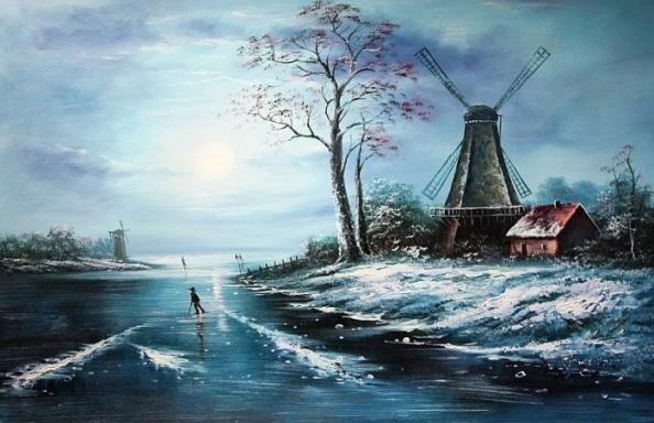 Koude kleuren doet denken aan sneeuw schilderij koude winters beeldaspect kleur - Koude en warme kleuren ...