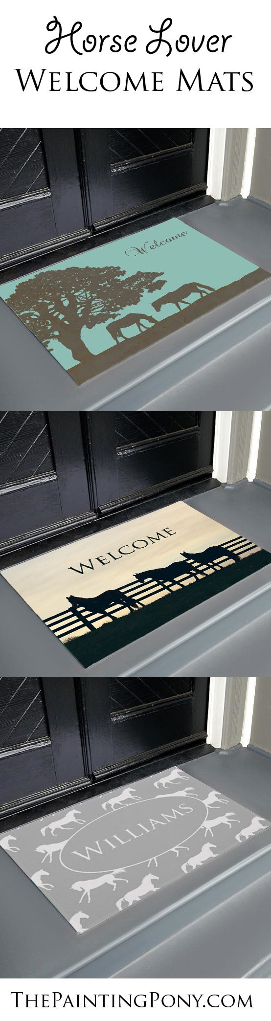 Equestrian Welcome Mats - Dress up your front door at your home, office, or even at the barn with a horse themed mat from The Painting Pony. Our mats are durable and colorful. Customize with your own text or name and custom colors are available upon request too. Any horse lover will enjoy these welcome mats available in two sizes for their home decor. Would also be good for the barn or stable farm tack room.