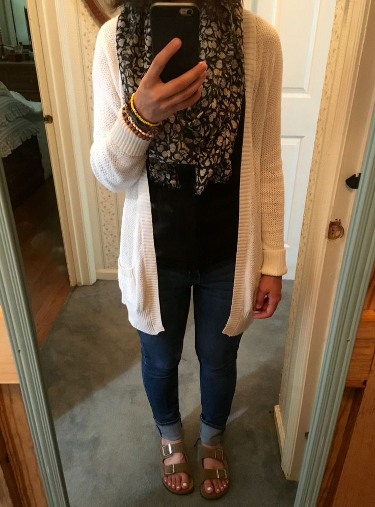cardigan: target   black shirt: target/anywhere   scarf: target on sale now!   pants: Levi's on sale!   shoes: Birkenstocks, more affordable options available at DSW and even Walmart.   #graduatestudentstyle #stylishacademic