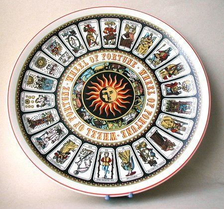 """Oh my!  I want this dish!  Wedgwood Wheel Of Fortune """"Tarot Card"""" Decorative Wall Plate."""