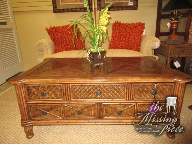 """Broyhill coffee table in a warm medium finish. There are two sizable drawers on this piece. Measures 51""""long x 32""""deep x 21""""high. Ideal for a tropical style living room or family room."""