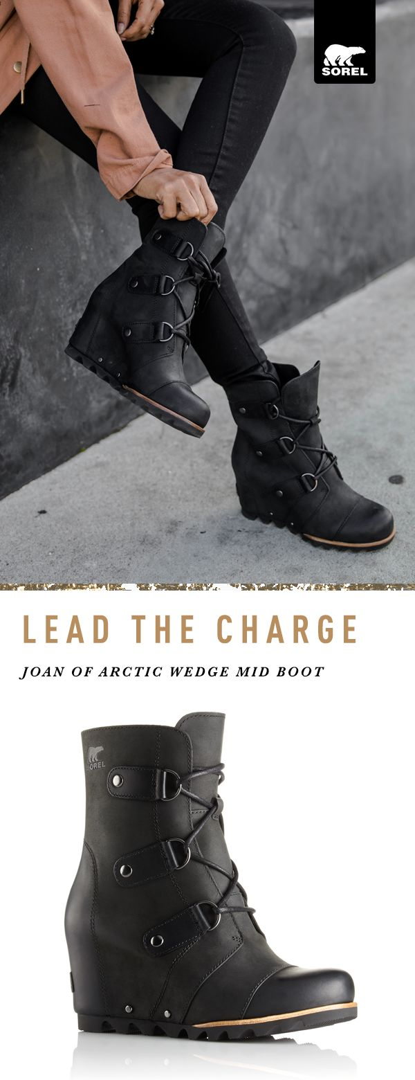 These sassy city boots prove that you don't have to sacrifice style for function. Inspired by a courageous French visionary, and featured here on Walk in Wonderland's Sheryl Luke, our Joan of Arctic Wedge Boots effortlessly combine full-grain, waterproof leather with burnished touches at toe and heel for an extra dose of edge. Find your pair at SOREL.