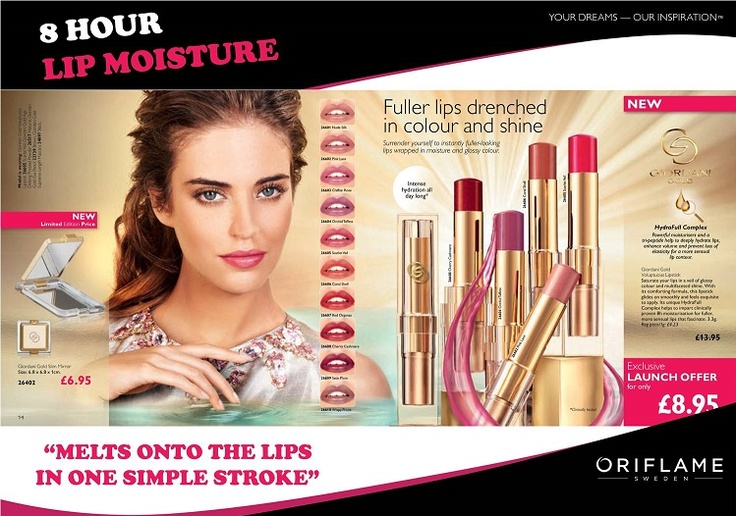 GIORDANI GOLD VOLUPTUOUS LIPSTICK  The lipstick melts onto the lips in one simple stroke and feels sophisticated and comfortable to wear. It's wrapped in powerful moisturisers and a tri-peptide to hydrate lips whilst enhancing volume.     The unique HydraFull Complex has been clinically proven to keep lips moisturized for up to 8 hours, that's an entire day spent in the office looking fabulous. There are 10 colour hues to choose from so every woman is sure to find the perfect shade.