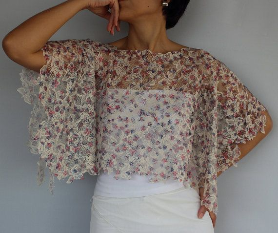 Floral Top Tunic Shrug Werbana Patterned Sheer Lace by mammamiaeme, $34.00