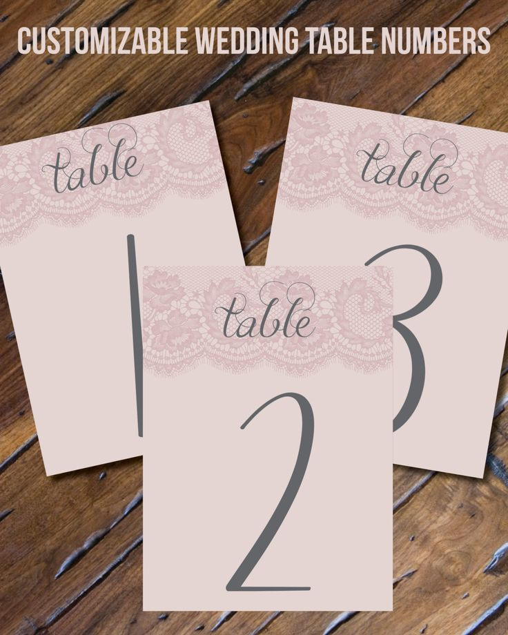 Custom Table Numbers // Wedding Table Numbers // Digital File // Pink // Grey // Lace // Perfect for a Photo Frame // Table Decor by Bombshell7 on Etsy