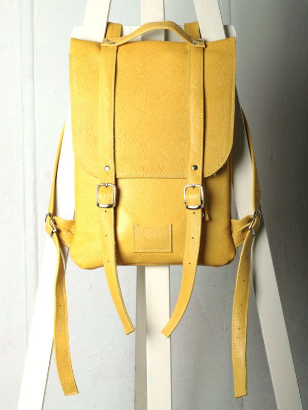 Yellow leather backpack rucksack / To order by kokosina on Etsy https://www.etsy.com/listing/187484694/yellow-leather-backpack-rucksack-to