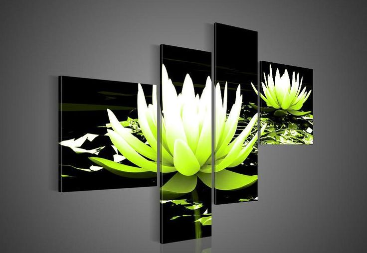 4034 handpainted 4 piece black white purple modern decorative oil painting on canvas wall art flower picture for living room $52.00