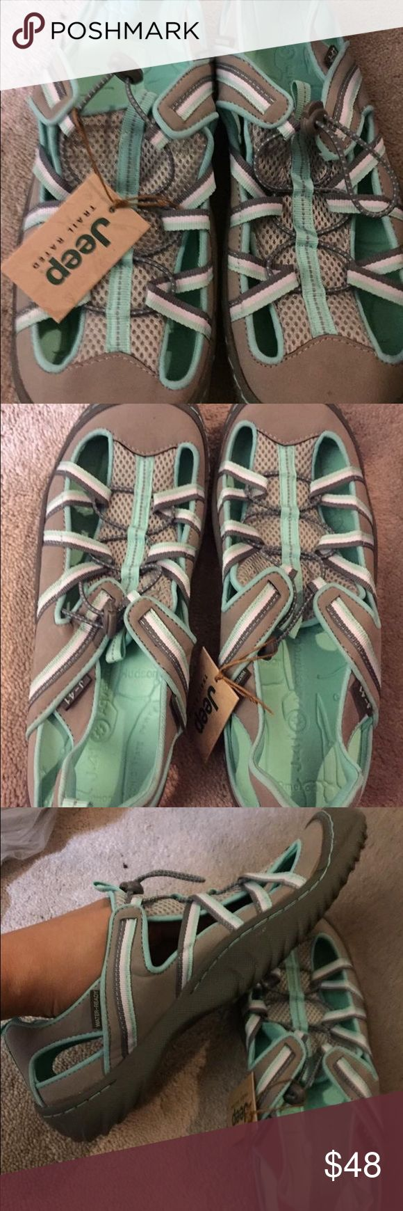 Brand new Jeep J41 sandals hiking water beach. 8.5 Jeep sandals hiking water beach shoes sandals BRAND NEW, never worn 8.5 Jeep  J41.  Green, tan. Just beautiful jeep Shoes Sandals