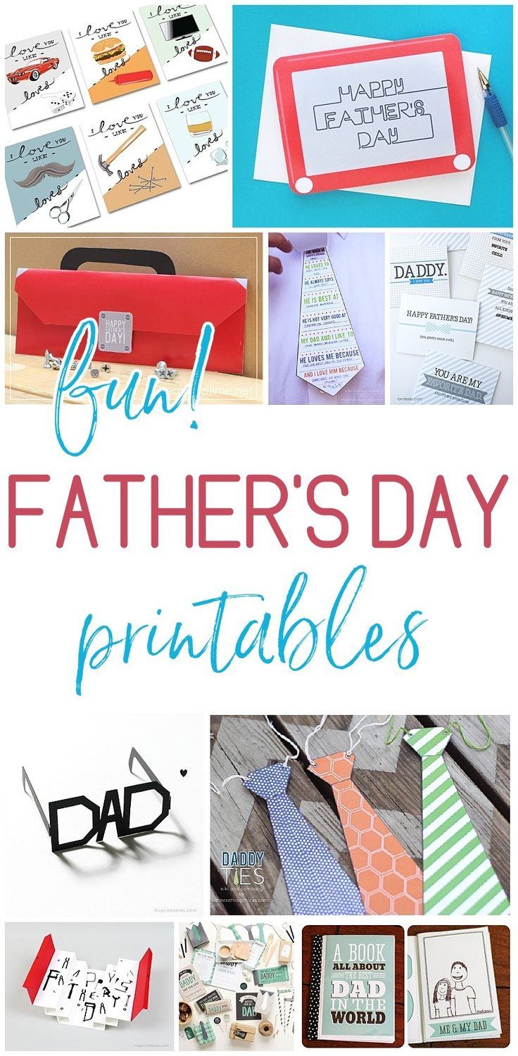 Free and Fun Father's Day Printables - Cards and Paper Crafts - EASY DIY Projects and Activities Perfect for kids to make to attach to gifts for Dads and Grandpas - Dreaming in DIY