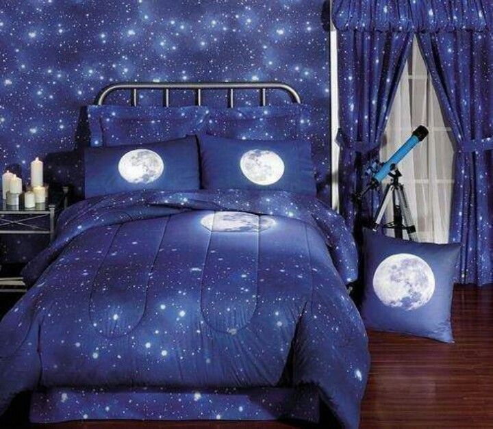 Bedroom   Outer Space Themed Bedroom   Outer Space Themed Bedroom For Boys  In Stars Printinrg And The Moon Bedding Sets With Hardwood Floor. 23 best Sam s room images on Pinterest   Bedroom accessories