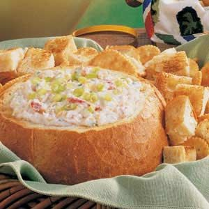 Baked Crab Dip ~ 3/18/12 Made this for the party last night. another huge hit. I didnt bake it in bread bowl, and I served it with sliced baguettes and tortilla chips. Tastes great with both. another definite keeper.