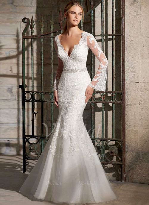 Wedding Dresses - $232.72 - Trumpet/Mermaid V-neck Sweep Train Organza Tulle Lace Wedding Dress With Beading (0025058290)