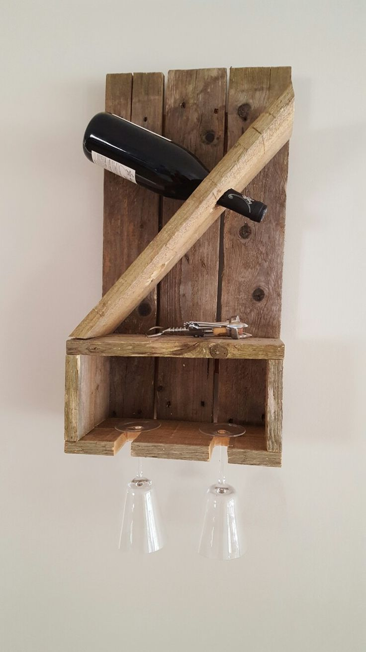 Hubby made an amazing pallet wine holder!