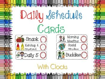 Daily Schedule Cards...i've already printed 2 other sets, and peiced them together, but this one has most of what i want, and has clocks! most of all, it says number corner and not calendar, wink wink!
