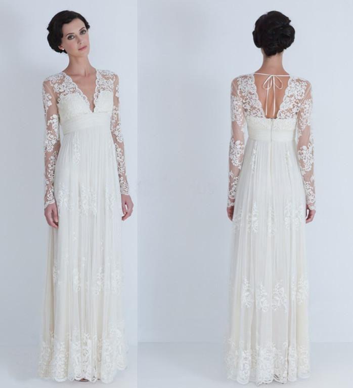 2014 Vintage Elegant Lace Sheath Wedding Dresses V-Neck Long Sleeve Empire Formal Gowns Dress Plus Size Custom-made US $112.00