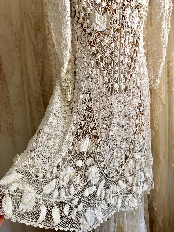 cd62afa36751ec Exquisite Antique Irish Lace Wedding Coat   Edwardian Opera Coat ...