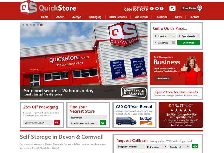 Website design and build for Quickstore, Self storage in Devon and Cornwall
