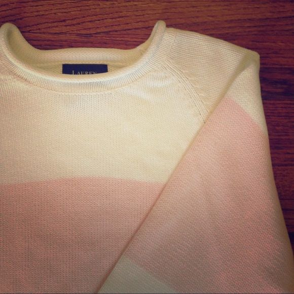 Sweater sale! Lauren cotton colorblock sweater Beautiful and preppy 100% cotton sweater. White & pale pink. No condition issues. Heavier weight. Boxy fit. Ralph Lauren Sweaters Crew & Scoop Necks
