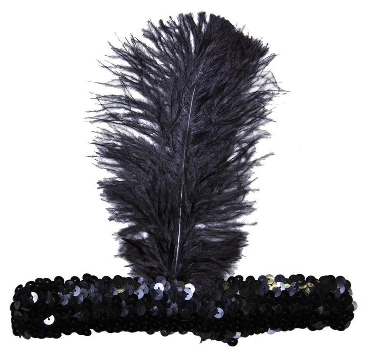 Adult 20s Headband Black Stretch sequin headband with single feather. The ideal 20s headpiece.