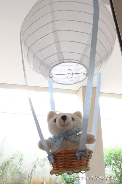 Teddy bear in a hot air balloon decoration at a Baby Shower Party! See more party ideas at CatchMyParty.com!