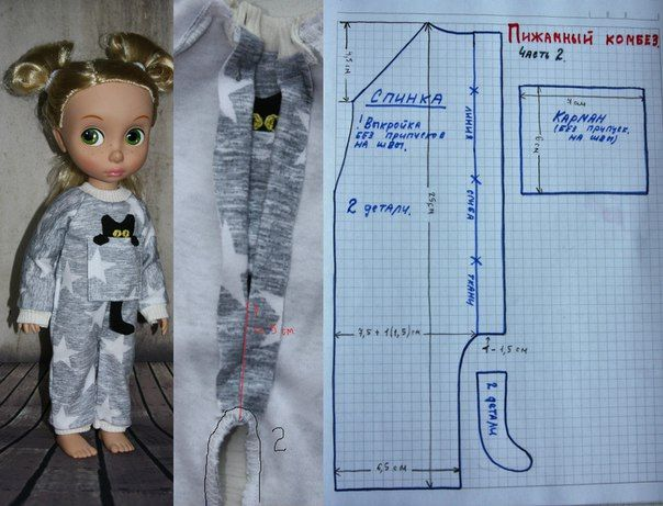 Doll one piece sleeper. Draw pattern for Lottie