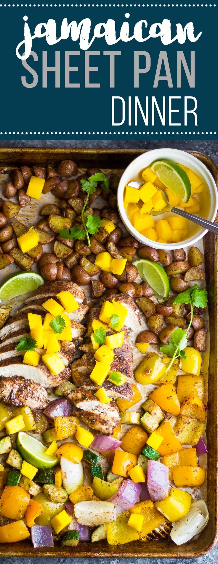 This Jamaican Chicken Sheet Pan Dinner is full of tropical spice and topped with fresh mango.  Ready in 30 minutes!