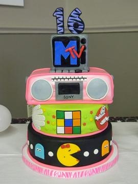 80 S Awesome Boombox Cake Pac Man Ghostbusters Sweet 16