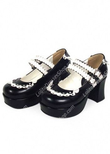 Cheap Cute PU Black and White Lace Lolita Shoes Sale At Lolita Dresses Online Shop