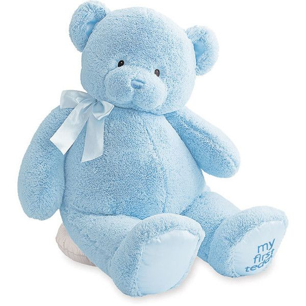 Gund 'Jumbo My 1st Teddy' Stuffed Bear Blue One Size (€35) ❤ liked on Polyvore featuring fillers, toys, baby, stuffed animals, baby stuff, toys/games и unisex