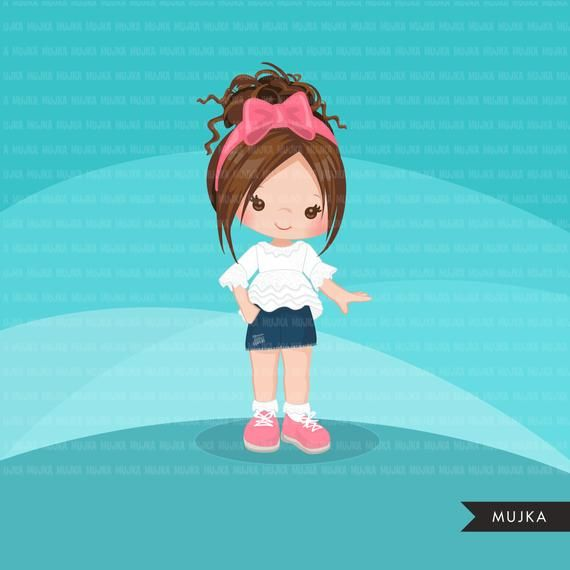 Little Girl Cute Outfits Clipart Girls With Jean Shorts Ruffled