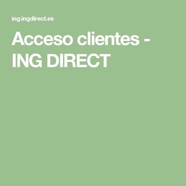 Acceso clientes - ING DIRECT