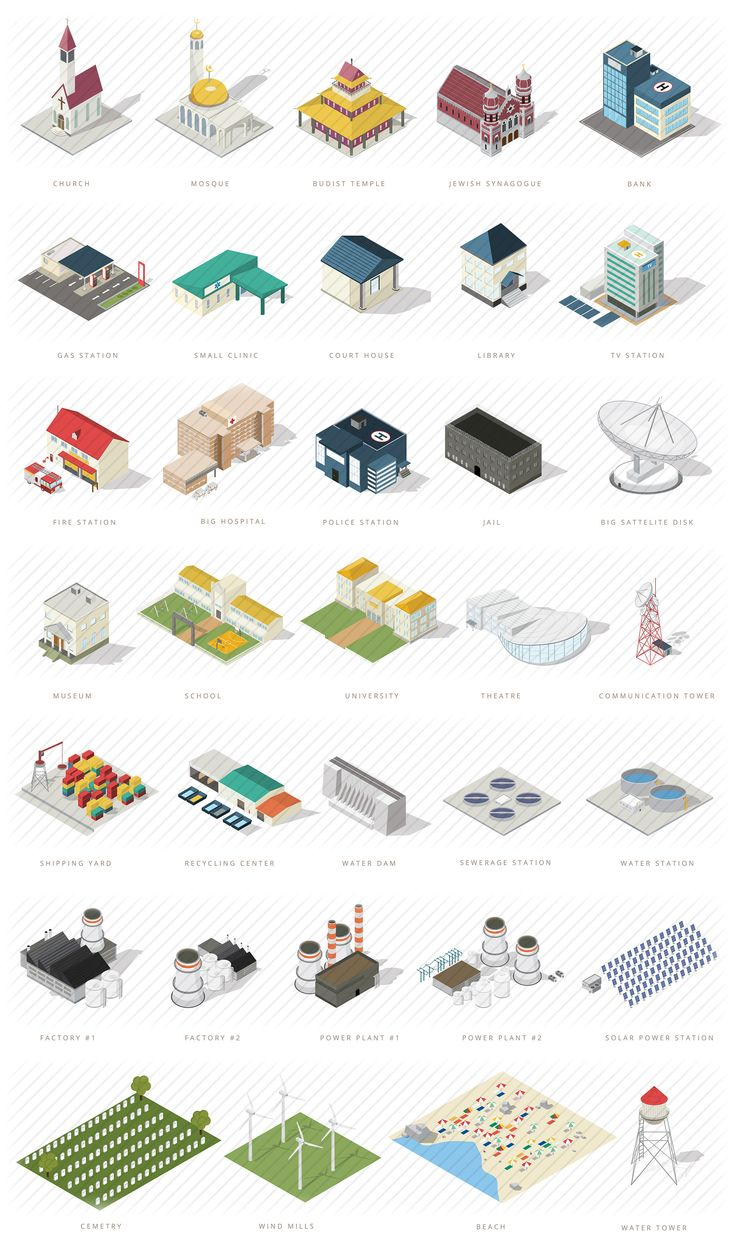 Isometric map builder elements: A massive collection of unique isometric elements to build your map