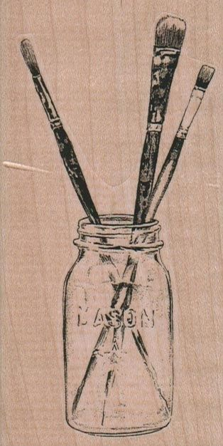 Artist paint brushes in a jar  rubber  stamps     wood mounted 9235