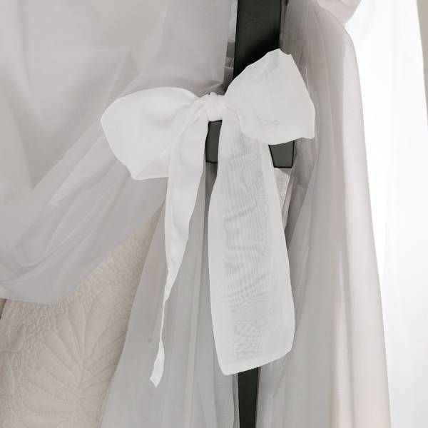 Product Image for Tie Sheer Bed Canopy Curtain Set in White 3 out of 5
