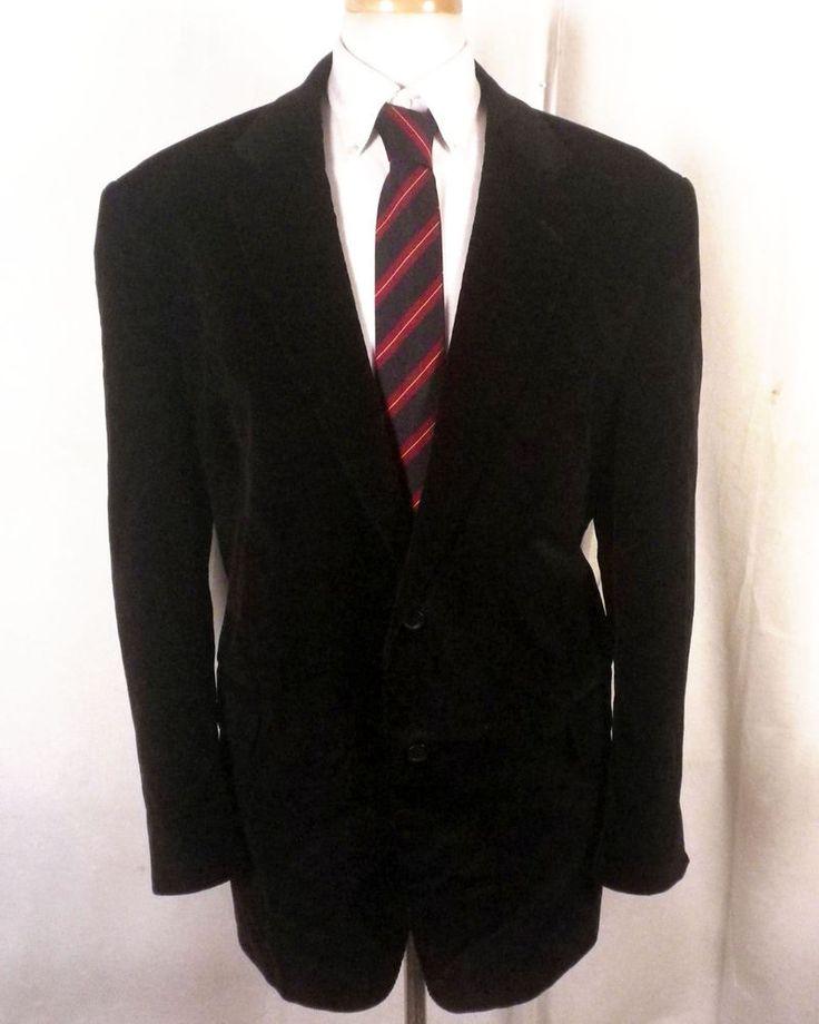 euc Stafford black 100% Cotton Corduroy Blazer Sportcoat big man 48 R #Stafford #TwoButton