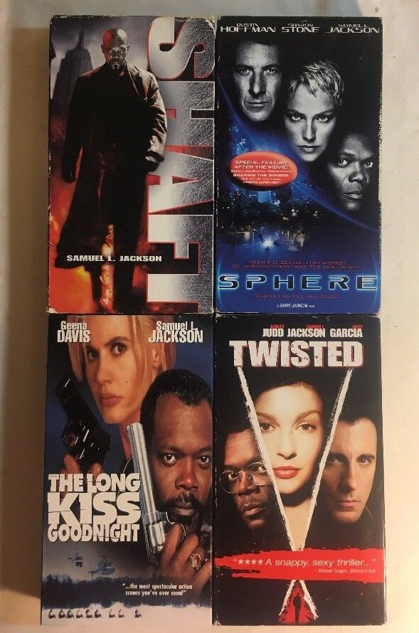 Samuel Jackson VHS Lot of 4 - Twisted, Shaft, Sphere, Long Kiss Goodnight