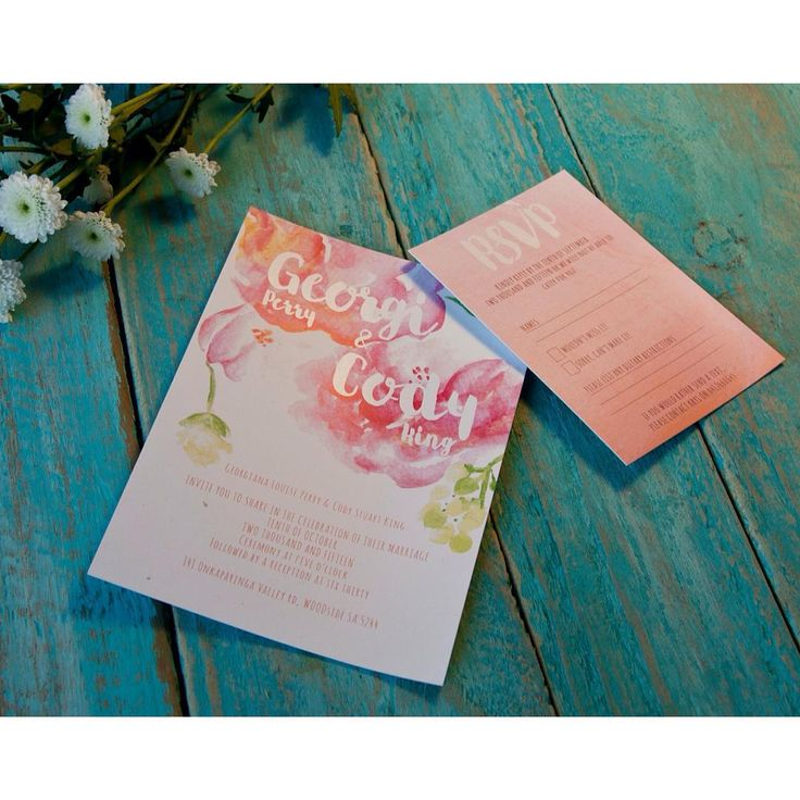 Spring wedding invitation and RSVP card that I designed recently! UV spot varnish was used on the names and RSVP to add contrast to the water colours. #designlife #design #wedding #watercolour #floral #springwedding #rustic #spring #flowers #weddingdesign #weddinginvitations #weddingstationary #typography #painting #art #artwork #nature #inspiration