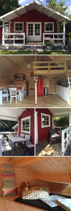 Gartenhäuser mit Schlafböden nutzen die Vertikale, um in der Horizontalen Plat…  # Gartenlaube
