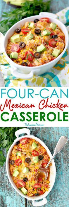 This 4 Can Mexican Chicken Casserole comes together in about 5 minutes and can…