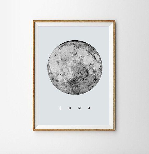 Luna Print Full Moon Poster Geometric Art Super Moon Sky Space Stars Geometric Decor Astronomy Science Wall Art moon Decor Dreamy luna lunar