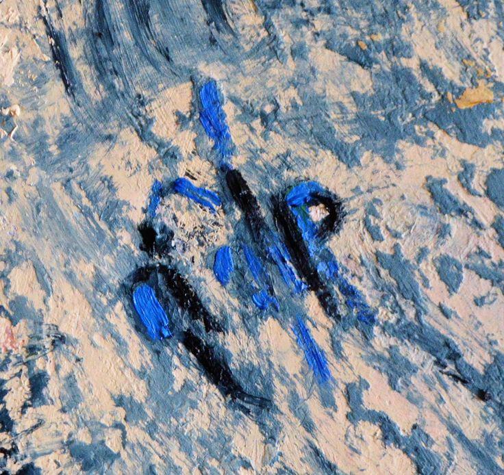 """""""Космонавт в открытом космосе. Космическая станция """"Р"""" - деталь картины """"Мейнкун защищает свет в восточном доме"""" -  холст, масло, автор Елена Поданева, картина написана методом интуитивной живописи, 2016"""