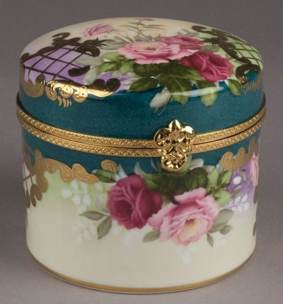 Teal with Pink Roses Romantic Trinket Jewelry Box